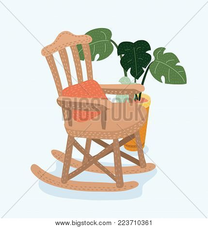 Vector cartoon illustration of Rocking chair. Vector cartoon illustration of cozy rocking chair for modern living room. Monstera plant in pot behind. Isolated object on white background.