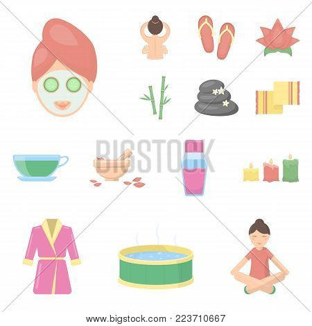 Spa salon and equipment cartoon icons in set collection for design. Relaxation and rest vector symbol stock  illustration.