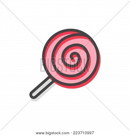 Lollipop traditional Christmas candy made of caramel of red color, stripes and print on it, treat on stick, vector illustration isolated on white