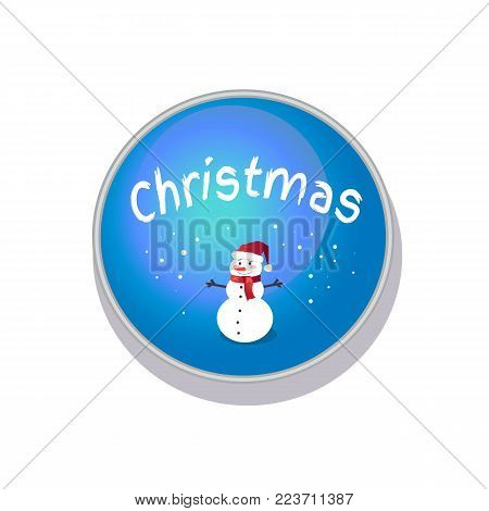 Smiling Christmas snowman in cute red hat with bright red scarf isolated on blue button with snow, vector illustration isolated on white background
