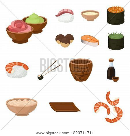 Sushi and seasoning cartoon icons in set collection for design. Seafood food, accessory vector symbol stock  illustration.