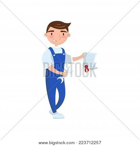 Auto mechanic worker showing paper document, car insurance concept, auto diagnostics service cartoon vector Illustration on a white background