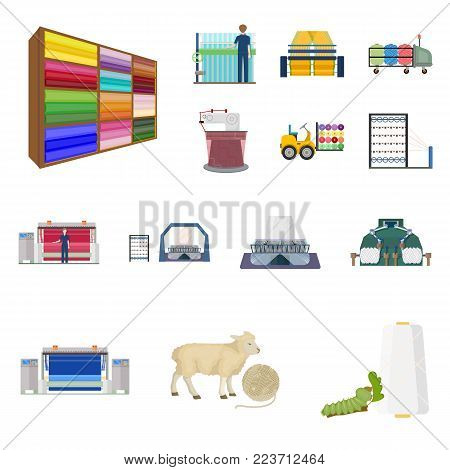 Textile industry cartoon icons in set collection for design.Textile equipment and fabrics vector symbol stock  illustration.
