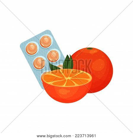 Package of lozenges with orange fruit flavor taste, sucking candies for sore throat and cough remedy cartoon vector Illustration on a white background