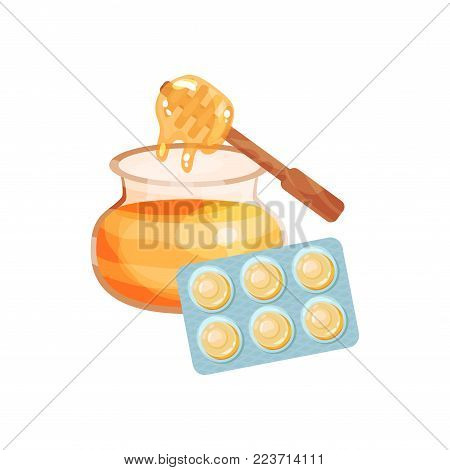 Package of lozenges with honey flavor taste, sucking candies for sore throat and cough remedy cartoon vector Illustration on a white background