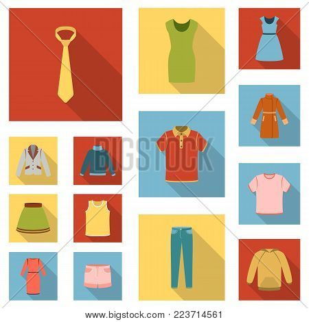 Different kinds of clothes flat icons in set collection for design. Clothes and style vector symbol stock  illustration.
