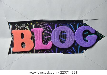 word blog on an   abstract colo0red background