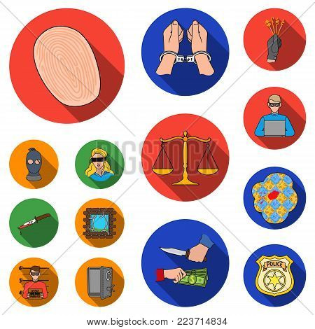 Crime and Punishment flat icons in set collection for design.Criminal vector symbol stock  illustration.