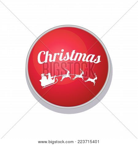 Christmas button with white pattern of Santa Claus, bag of gifts in his sleigh and three deer helping him to deliver presents, vector illustration