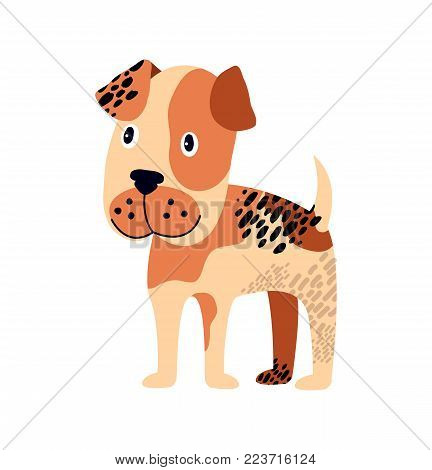 Spotted dog of brown color, looking somewhere in distance represented on poster with one animal on vector illustration isolated on white background