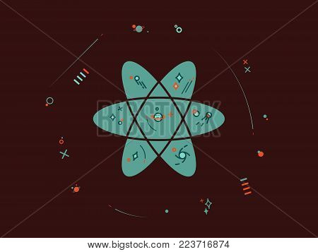 It's an illustration depicting an atom that is also a cosmo star