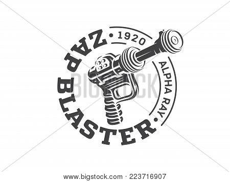 It's a vector illustrationn depicting a vintage raygun blaster