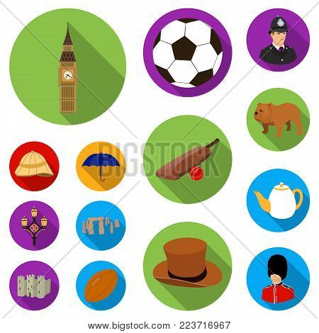 England country flat icons in set collection for design.Travel and attractions vector symbol stock  illustration.