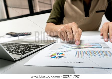Yong businesswomen calculate about cost and doing finance at home office, Finance managers task, Concept business and finance investment