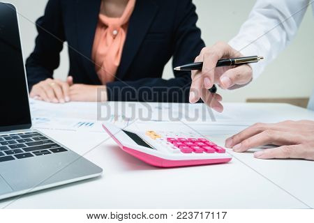 Business team meeting consulting project and financial cost. Professional investor working the project. Concept business and finance