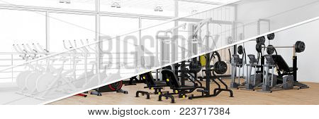 Planning and designing a fitness center with equipment as a panorama from CAD model to 3D rendering