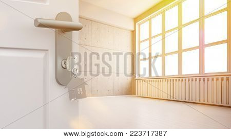 Door with key in front of a bright loft office in summer (3D Rendering)