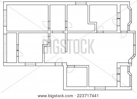CAD floor plan of house or apartment as planning for house construction (3D Rendering)