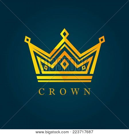 King crown facet logo. Vector of luxury facet golden crown icon. Dad my king illustration