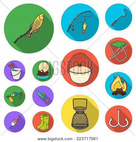 Fishing and rest flat icons in set collection for design. Tackle for fishing vector symbol stock  illustration.