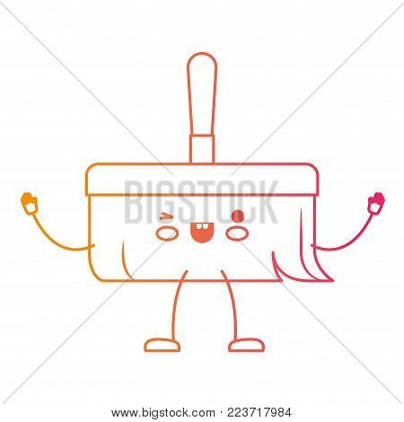 kawaii cartoon hand broom with wooden stick in degraded yellow to magenta silhouette vector illustration