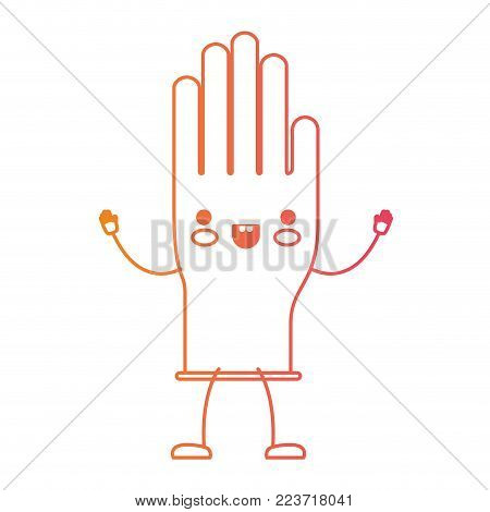 kawaii cartoon single glove in degraded yellow to magenta silhouette vector illustration