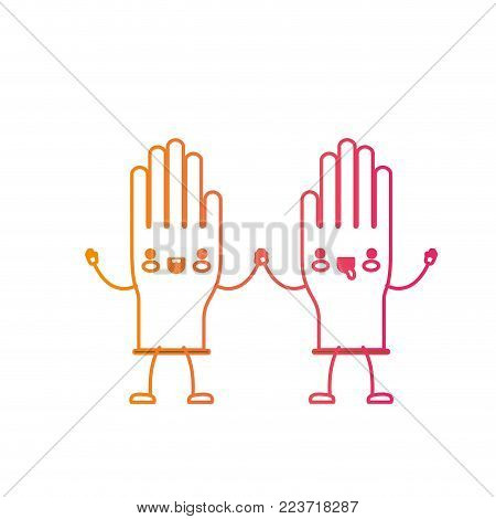 kawaii cartoon pair gloves holding hands in degraded yellow to magenta silhouette vector illustration