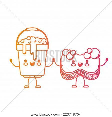 kawaii cartoon bucket with soapy water and sponge holding hands in degraded yellow to magenta silhouette vector illustration
