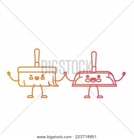 kawaii cartoon hand dustpan and hand broom holding hands in degraded yellow to magenta silhouette vector illustration