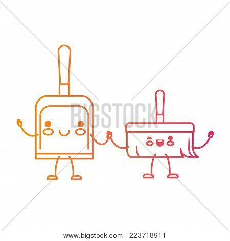 kawaii cartoon hand dustpan top view and hand broom holding hand in degraded yellow to magenta silhouette vector illustration