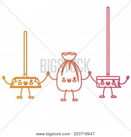 kawaii cartoon broom and garbage bag tied and dustpan holding hands in degraded yellow to magenta silhouette vector illustration