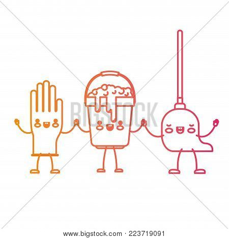 kawaii cartoon glove and bucket with soapy water and mop holding hands in degraded yellow to magenta silhouette vector illustration