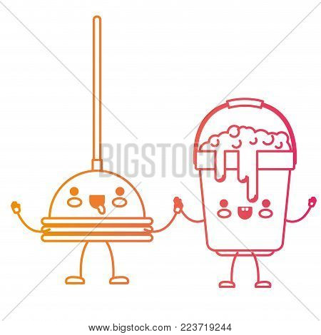 kawaii cartoon toilet pump and bucket with soapy water holding hands in degraded yellow to magenta silhouette vector illustration