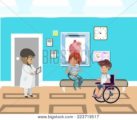 People line at hospital and doctor. Vector illustration
