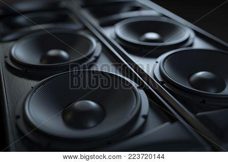 Hi-Fi acoustic sound system closeup. Macro shot. 3d render