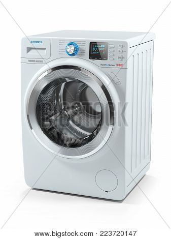 Modern white washing machine. Object isolated on white background 3d
