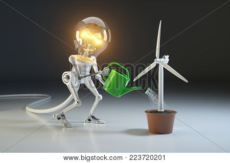 Robot lamp watering wind generator in a pot. The concept of environmental protection. 3D rendering