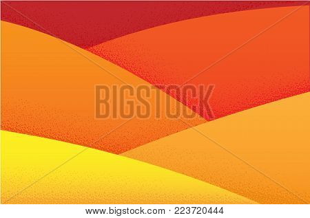 Orange warm desert background with a grainy texture. Hills or mounds of sand. Vector