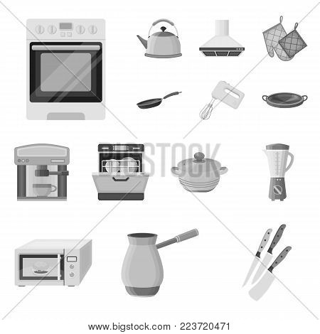 Kitchen equipment monochrome icons in set collection for design. Kitchen and accessories vector symbol stock  illustration.