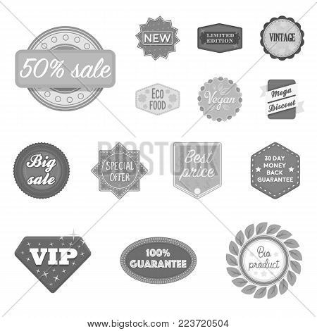 Different label monochrome icons in set collection for design. Index and brand vector symbol stock  illustration.