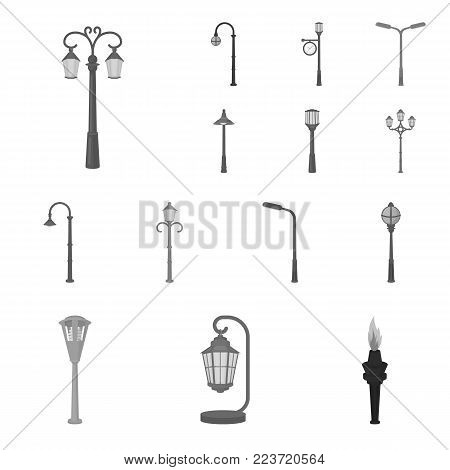 Lamp post monochrome icons in set collection for design. Lantern and lighting vector symbol stock  illustration.