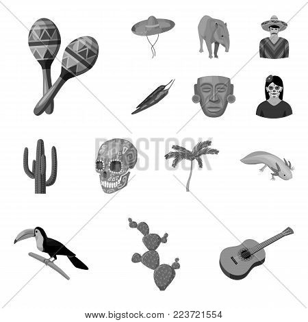 Country Mexico monochrome icons in set collection for design. Mexico and landmark vector symbol stock  illustration.