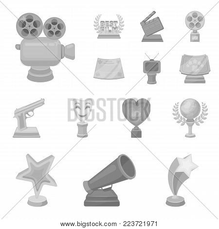Film awards and prizes monochrome icons in set collection for design. The World Film Academy vector symbol stock  illustration.