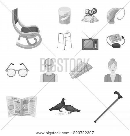 Human old age monochrome icons in set collection for design. Pensioner, period of life vector symbol stock  illustration.