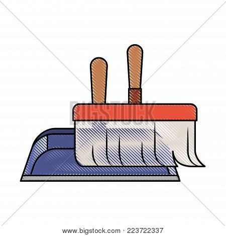 dustpan and hand broom in closeup in colored crayon silhouette vector illustration