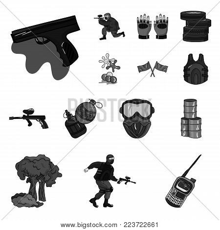 Paintball, team game monochrome icons in set collection for design. Equipment and outfit vector symbol stock  illustration.