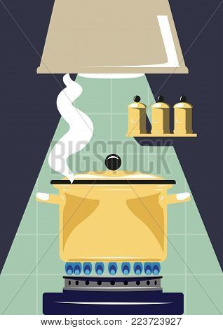 Gas cooker with saucepan. Preparation of soup.