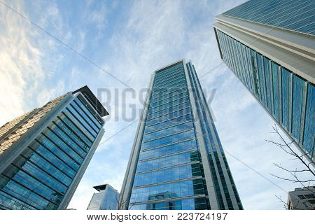 Modern buildings at Isidora Goyenechea Street, a wealthy financial district in Las Condes district, Santiago Chile