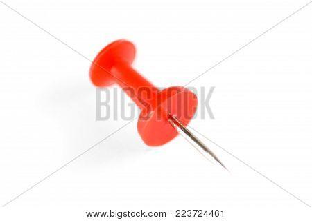Blue and red pushpin. Macro shot. Close up. poster