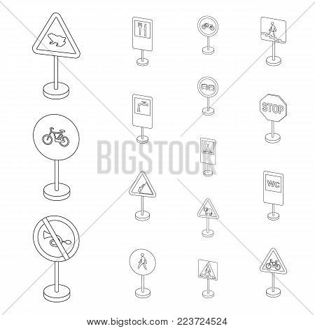 Different types of road signs outline icons in set collection for design. Warning and prohibition signs vector symbol stock  illustration.